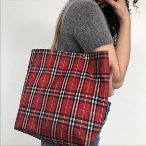 Burberry Red Plaid Tote